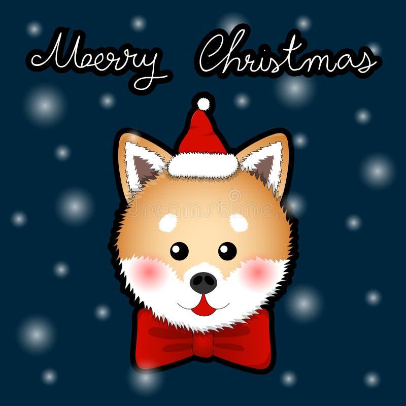 Shiba Inu Santa Claus Dog com fita vermelha no cartão do azul de índigo da neve Ilustração do vetor ilustração royalty free