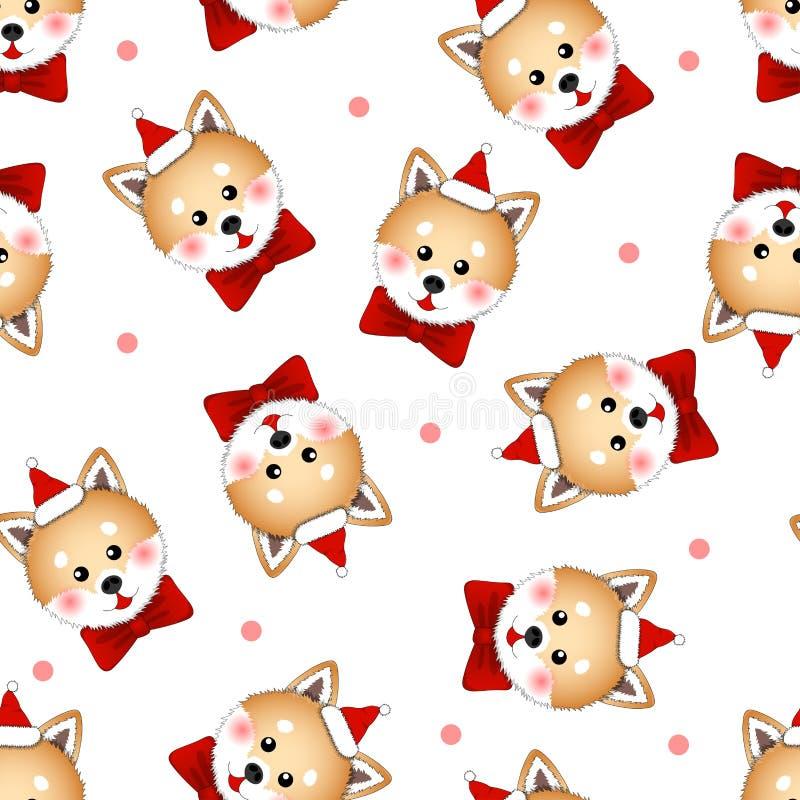 Shiba Inu Santa Claus Dog with Red Ribbon. on Pink Polka dot White Background. Vector Illustration.  stock illustration