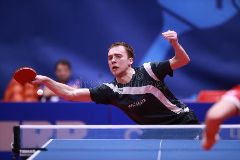 SHIBAEV Alexander from Russia top spin. Montreux, Switzerland, 3 February 2018. SHIBAEV Alexander from Russia top spin. First Round at the ITTF European Top 16 royalty free stock photography