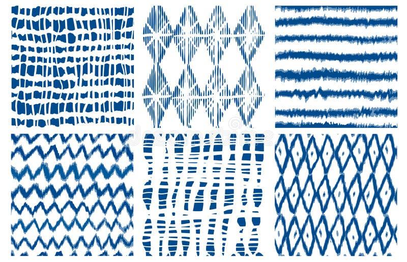 Shibori染料领带geo传染媒介无缝的样式靛蓝 皇族释放例证