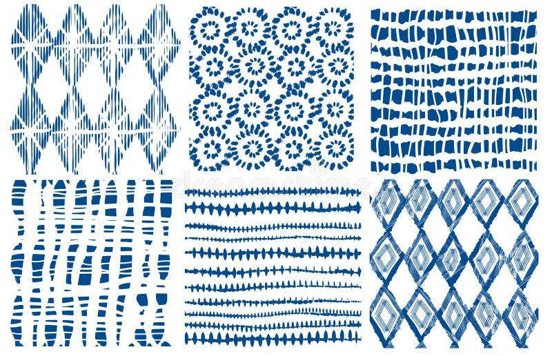 Shibori靛蓝无缝的样式 传染媒介靛蓝印刷品 库存例证