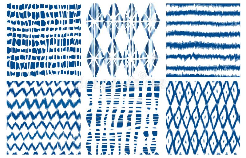 Shibori dye tie geo vector seamless pattern indigo royalty free illustration