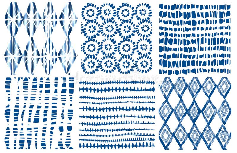 Shibori indygowy bezszwowy wzór Wektorowy indygowy druk ilustracji