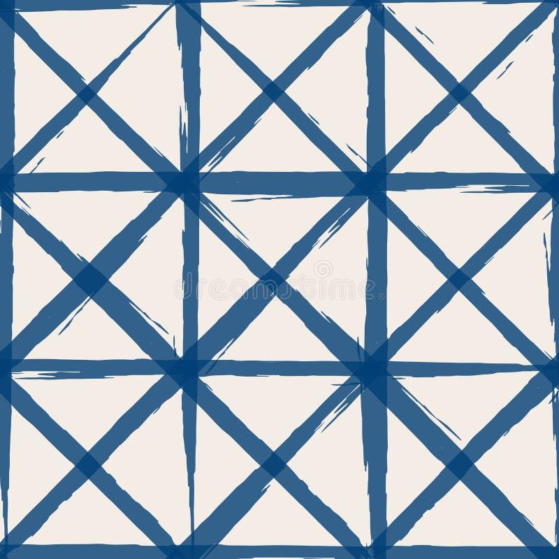 Shibori Tie-Dye indigo vector pattern stock illustration