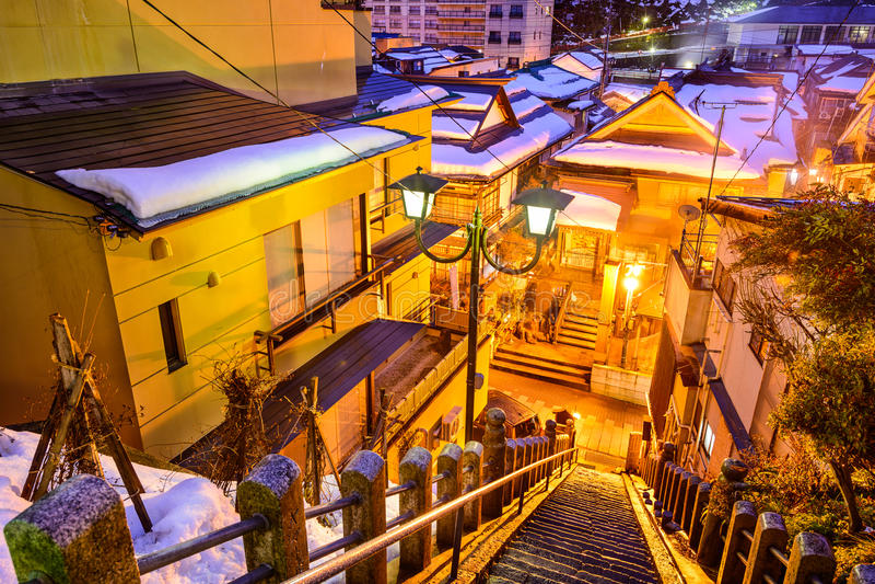 Shibu Onsen胡同楼梯 库存图片