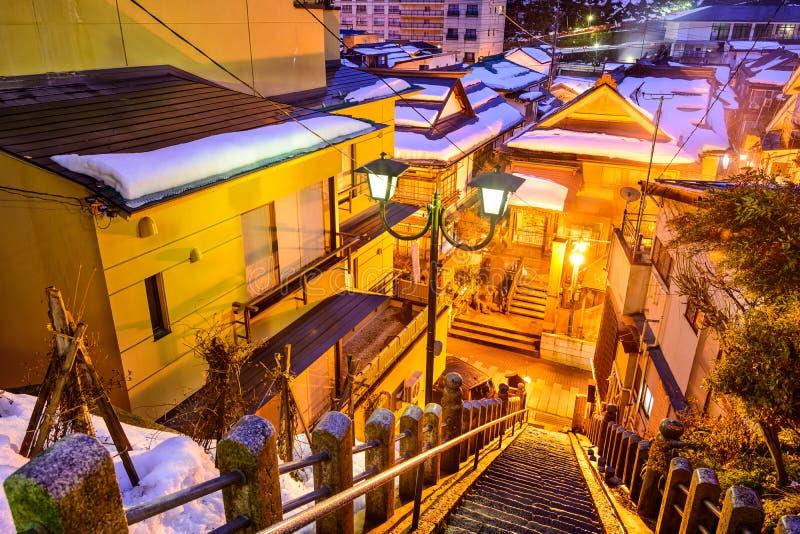 Shibu Onsen Alley Staircase. Shibu Onsen, Nagano, Japan old alley staircase view at night stock images