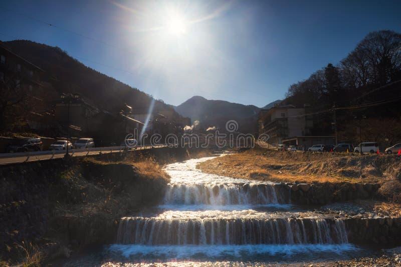 Shibu onsen la vista scenica nella mattina, Nagano immagine stock libera da diritti