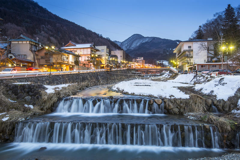 Shibu Onsen. Springs in the small Town of Shubu, Nagano, Japan. The town is famed for its hot springs stock image