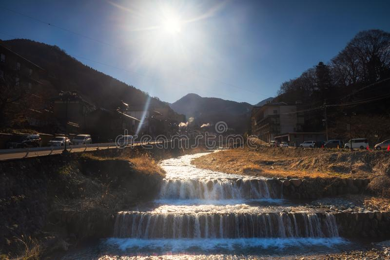 Shibu onsen toneelmening in ochtend, Nagano royalty-vrije stock afbeelding