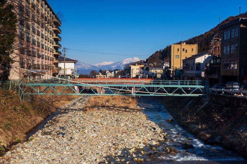 Shibu onsen town and central alps, Nagano. Shibu onsen city and central alps mountain with blue sky, Yamanouchi, Nagano, Japan. The town is famous for hot royalty free stock photo