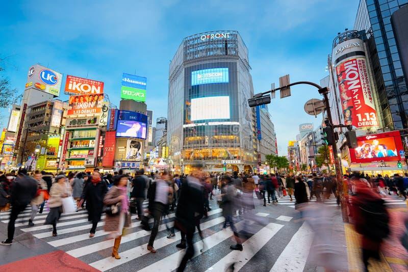 Shibuya-Überfahrt in Tokyo, Japan lizenzfreie stockfotos