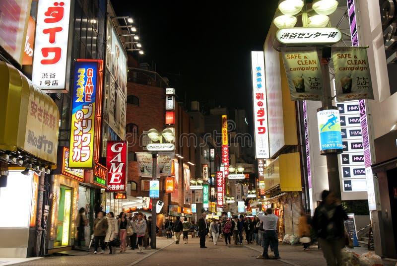 Shibuya街道在晚上东京日本 图库摄影