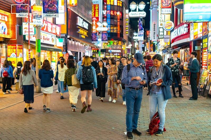 Shibuya Crossing is one of the busiest crosswalks in the world. Pedestrians crosswalk at Shibuya district. Tokyo, Japan stock photo