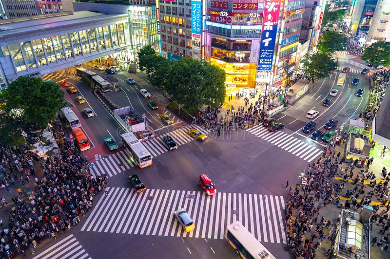 Shibuya Crossing is one of the busiest crosswalks in the world. Pedestrians crosswalk at Shibuya district. Tokyo, Japan royalty free stock photography