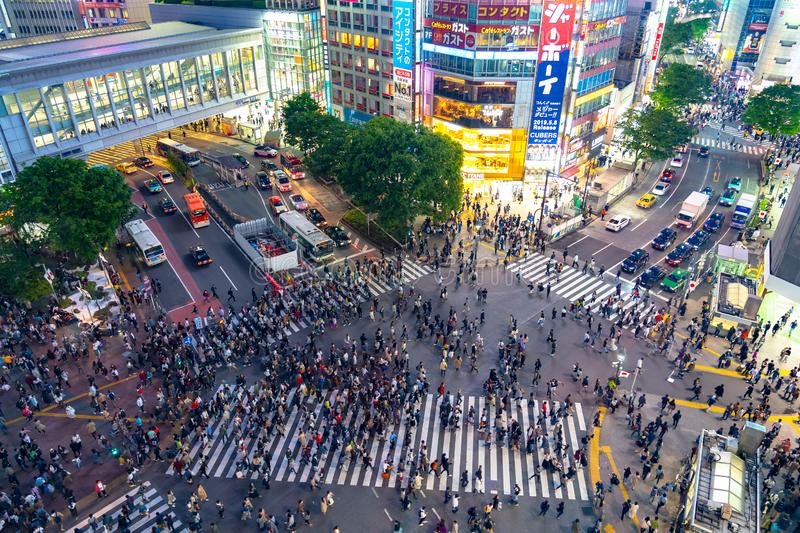 Shibuya Crossing is one of the busiest crosswalks in the world. Pedestrians crosswalk at Shibuya district. Tokyo, Japan stock images