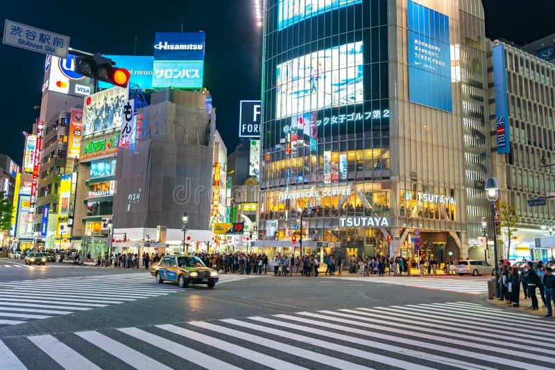 Shibuya Crossing is one of the busiest crosswalks in the world. Pedestrians crosswalk at Shibuya district. Tokyo, Japan royalty free stock photo
