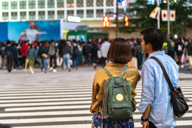 Shibuya Crossing is one of the busiest crosswalks in the world. Pedestrians crosswalk at Shibuya district. Tokyo, Japan royalty free stock images