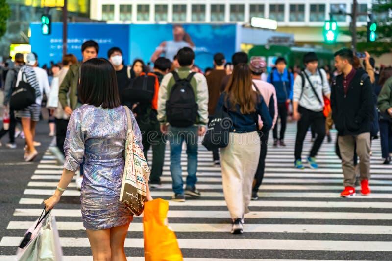 Shibuya Crossing is one of the busiest crosswalks in the world. Pedestrians crosswalk at Shibuya district. Tokyo, Japan royalty free stock image