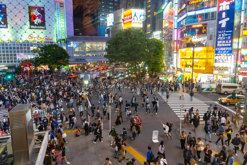 Shibuya Crossing is one of the busiest crosswalks in the world. Pedestrians crosswalk at Shibuya district. Tokyo, Japan stock image