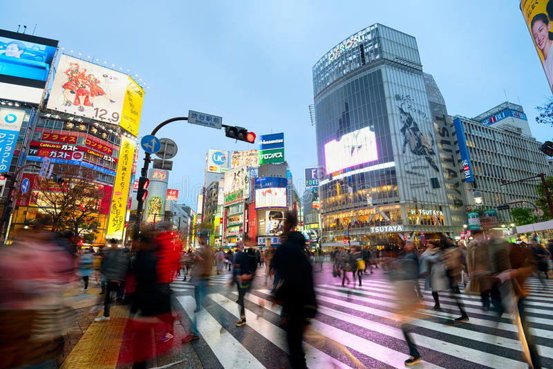 Shibuya Crossing In Tokyo, Japan royalty free stock images