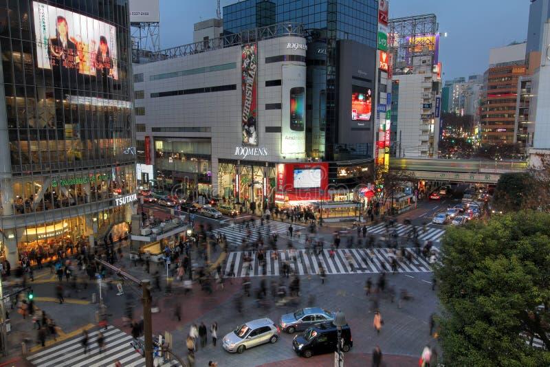 Shibuya die, Tokyo, Japan kruist stock foto's