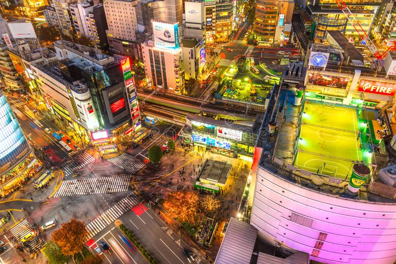 Shibuya District and Shibuya Crossing, Tokyo. stock photo