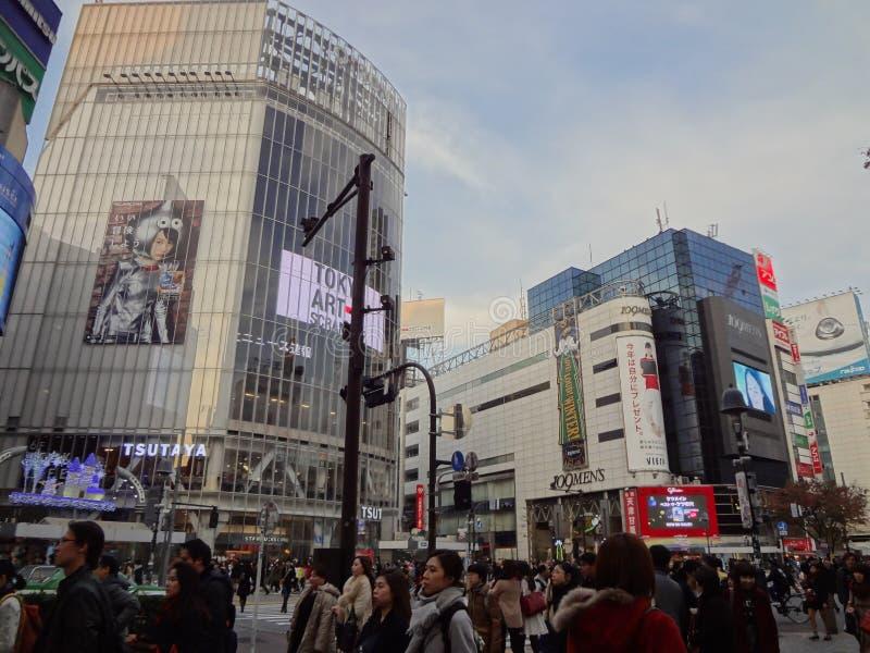 Shibuya korsning med julgarnering royaltyfri bild