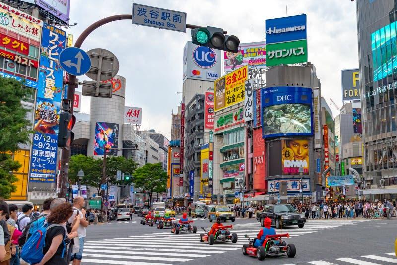 Shibuya, Tóquio, Japão - 30 de abril de 2019: Kart de Mario no distrito de Shibuya no Tóquio, Japão imagens de stock