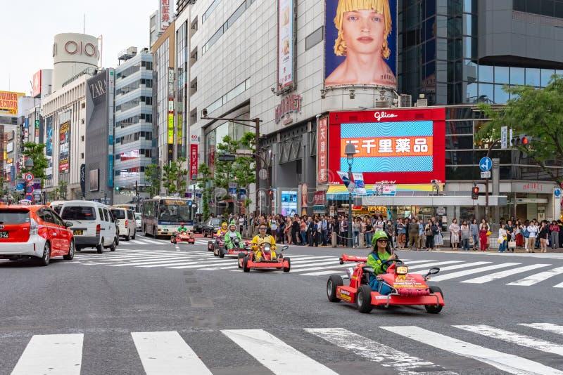 Shibuya, Tóquio, Japão - 30 de abril de 2020: Kart de Mario no distrito de Shibuya no Tóquio, Japão imagens de stock