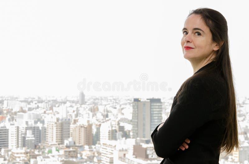 Shibuya Tokio, Japonia, Kwiecień,/- 2 2012: Francuskie pisarza Amelie Nothomb pozy dla obrazków w Tokio, Japonia Odwiedzał Tokio  obrazy royalty free