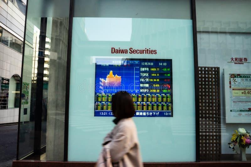 Shibuya Tokyo, Japan - December 26, 2018: Kontorsfolket går passerandebanken och säkerheter som bygger med bildskärmen av aktiema royaltyfri bild