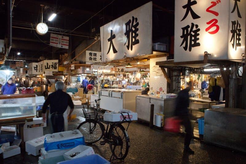 Shibuyafiskmarknaden tidigt på morgonen fotografering för bildbyråer