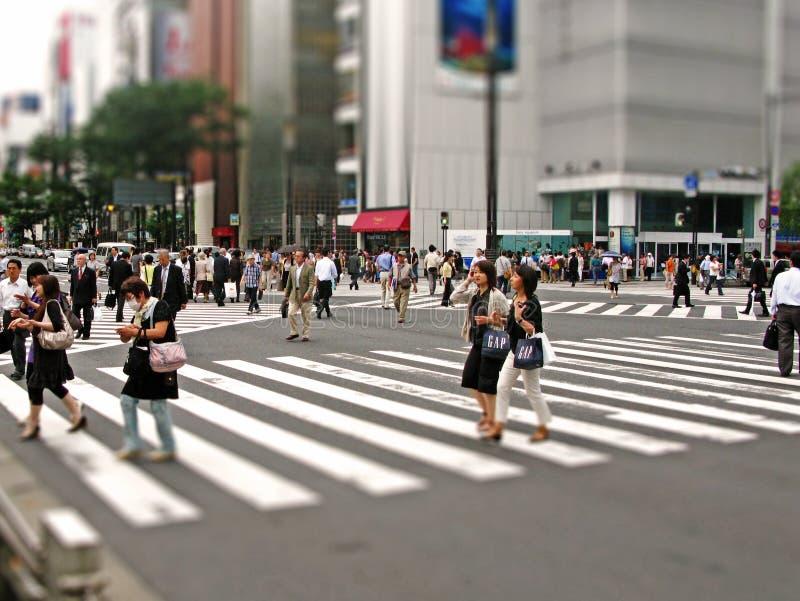 Shibuyakruising het beroemde zebrapad in Tokyo stock fotografie