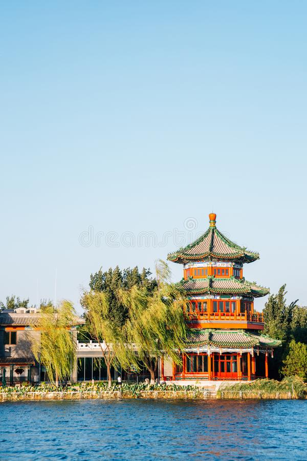 Shichahai Houhai lake and Chinese traditional pavilion in Beijing, China royalty free stock images