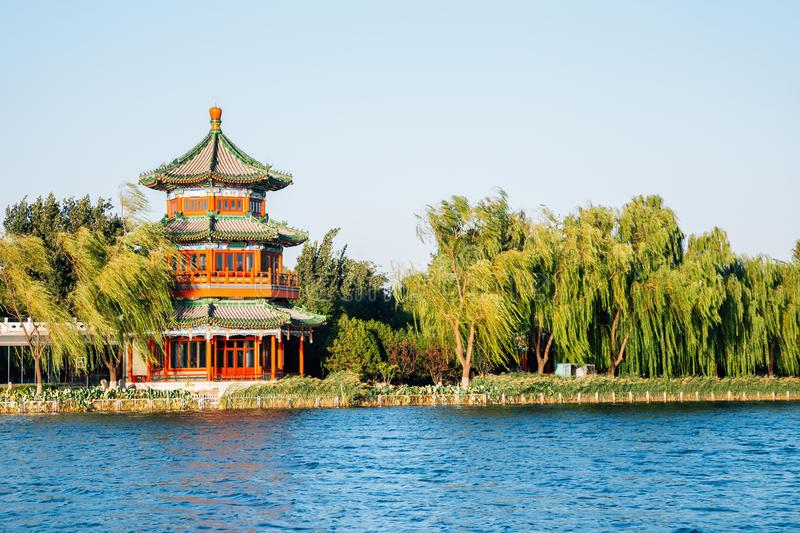 Shichahai Houhai lake and Chinese traditional pavilion in Beijing, China stock images