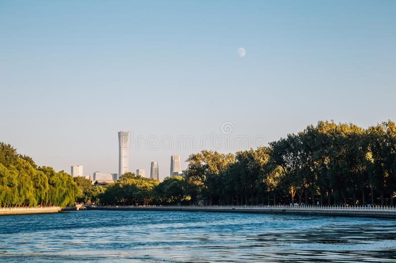 Shichahai Houhai lake evening in Beijing, China stock photo