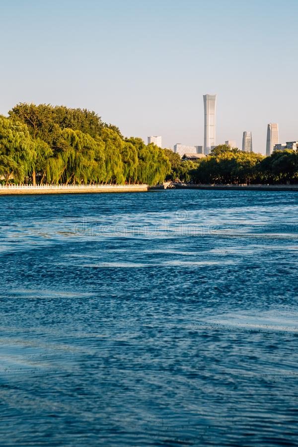 Shichahai Houhai lake evening in Beijing, China stock photography