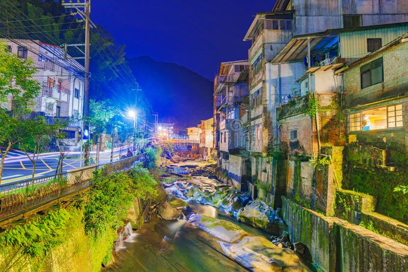 Shiding old street architecture at night. Shiding old street architecture and river view at night stock image