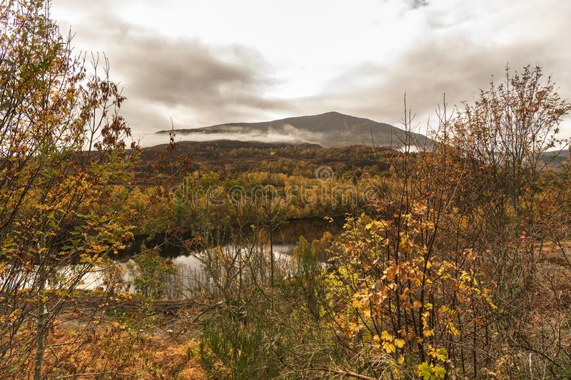Shiehallion. An autumnal image of Shiehallion and the river Tummel in Perth and Kinross, Scotland. 18 October 2018 stock photography