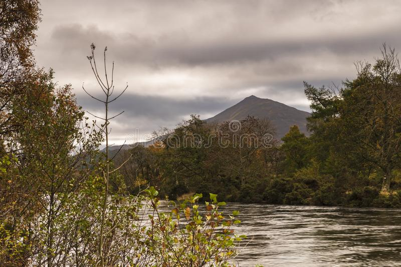 Shiehallion. An autumnal image of Shiehallion and the river Tummel in Perth and Kinross, Scotland. 18 October 2018 royalty free stock photo