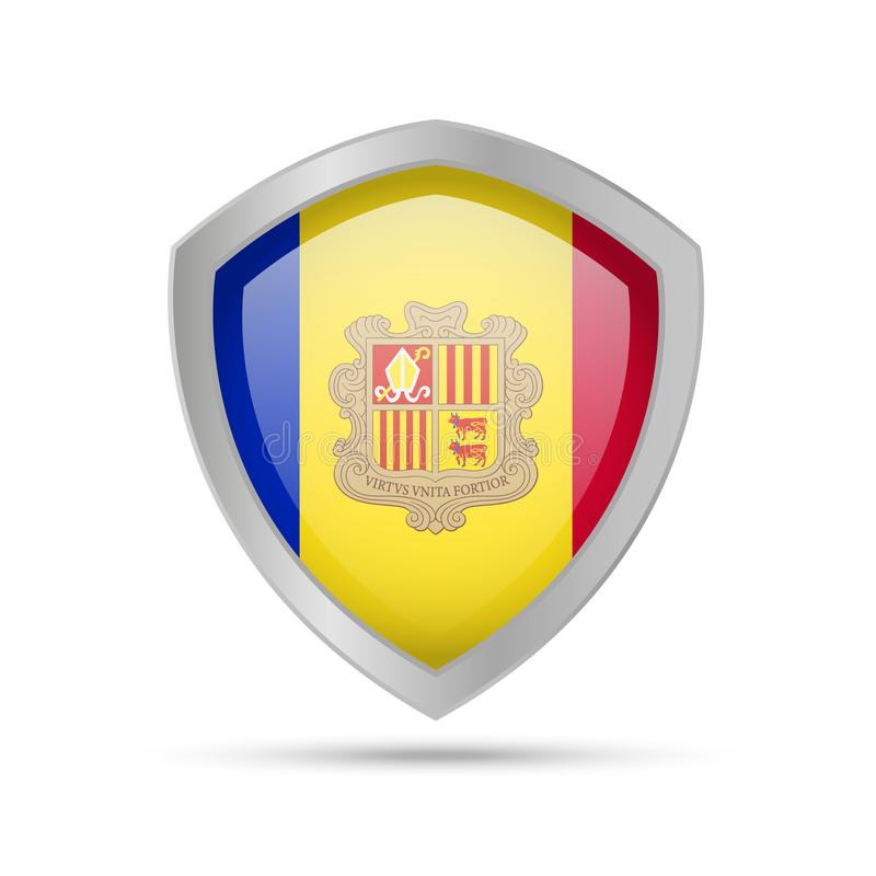 Shield with Andorra flag on white background. Vector illustration vector illustration