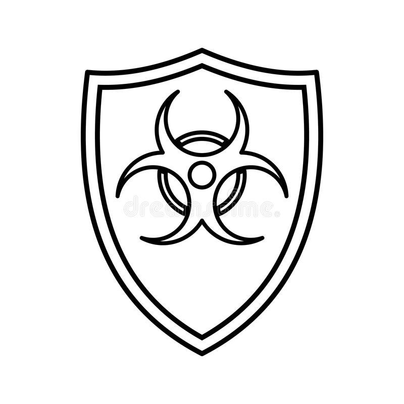Shield With A Biohazard Sign Icon Outline Style Stock Vector