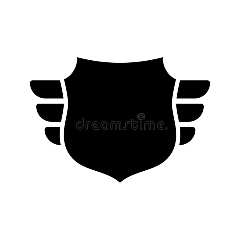 Shield black icon. Outline shield, simple wings isolated white background. Flat graphic sign. Symbol arms, security royalty free illustration