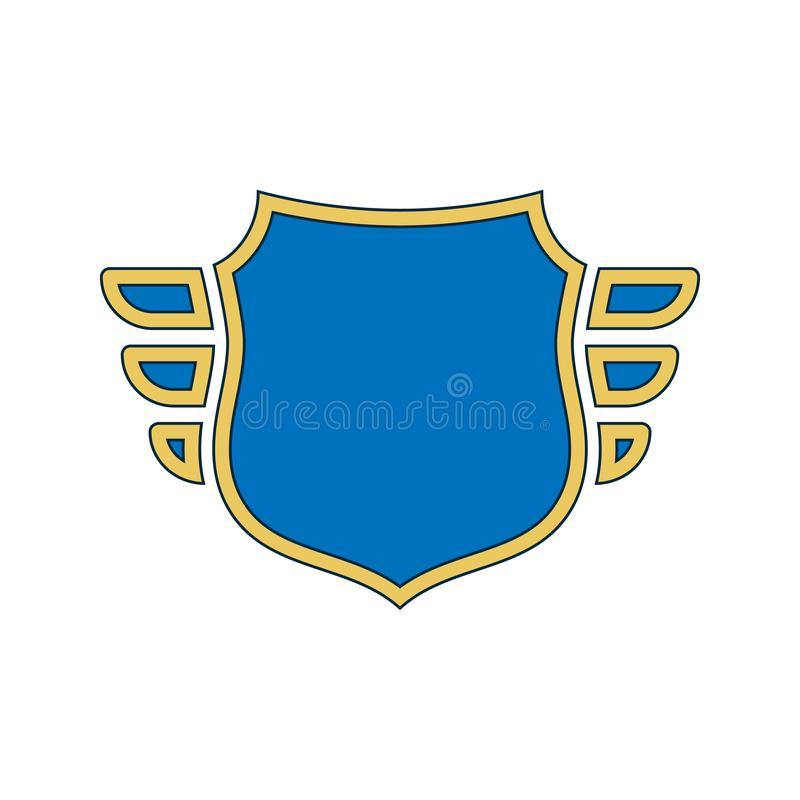 Shield blue icon. Gold outline shield, golden simple wings isolated white background. Flat sign Symbol arms, security royalty free illustration