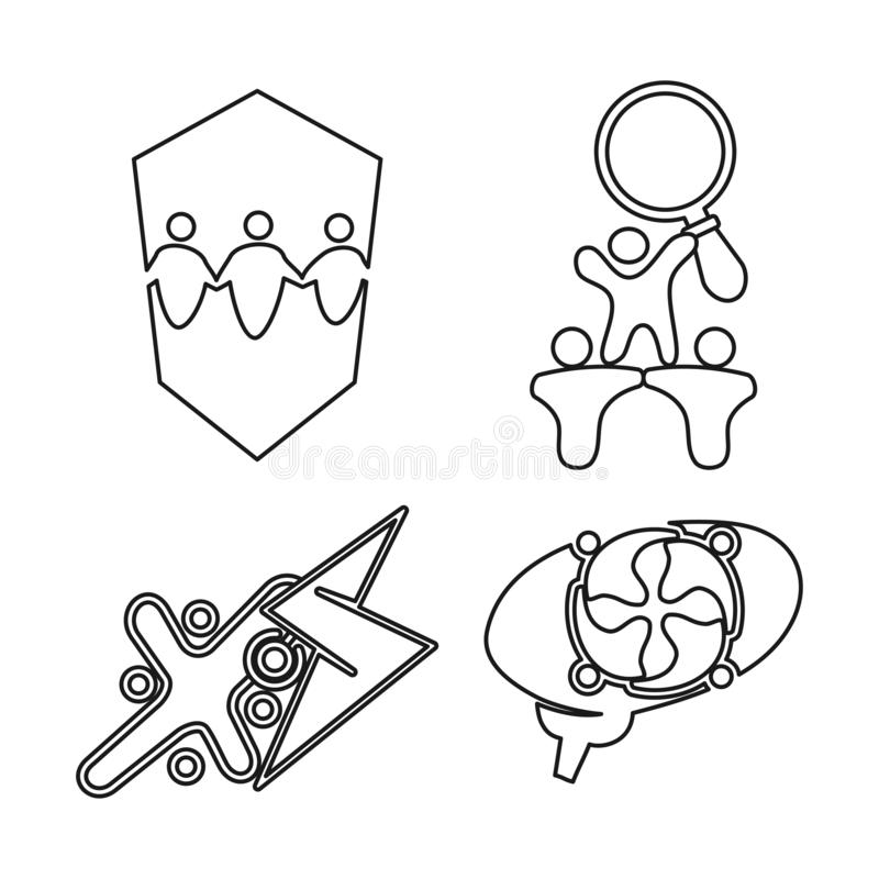 Shield brain bolt Commitment Teamwork Together Outline Logo. Shield brain bolt Commitment Teamwork Together Outline royalty free illustration