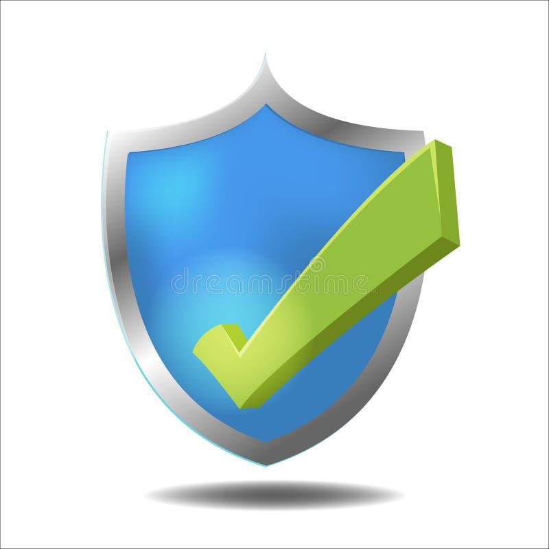 Shield Check Green Mark Symbol Vector. Shield Check Green Mark Symbol stock illustration