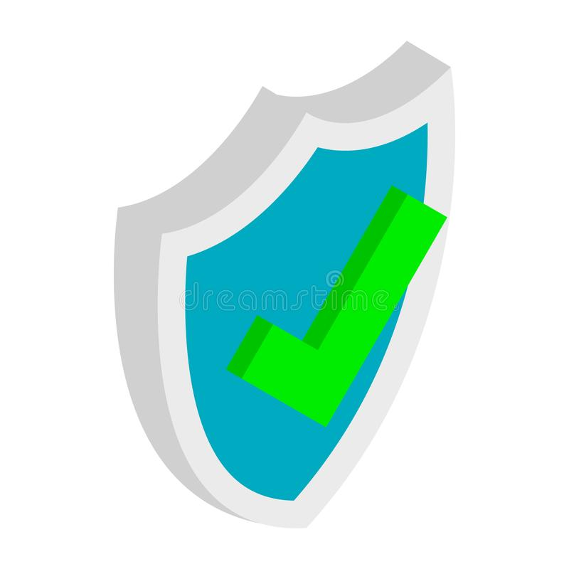 Shield with check mark icon, isometric 3d style stock illustration