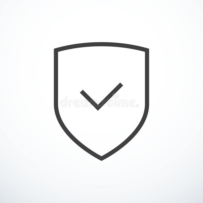 Shield and check mark icon. Shield and tick icon. Vector illustration eps 10 stock illustration