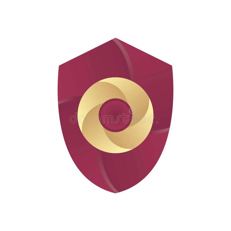 3D Shield Circle Letter A Initial Alphabet Logo Design