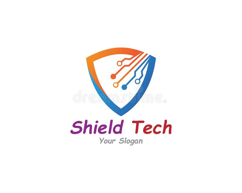 Shield with circuit tech creative logo or icon template design stock illustration